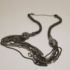 Robert Rose Metal Snake necklace with bling
